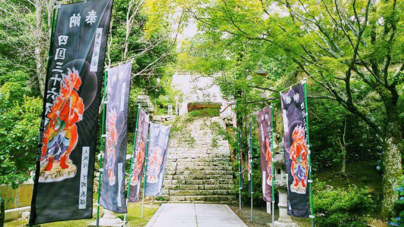 大山寺の鐘楼門と本堂の間の青紅葉がきれいな参道